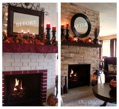stone veneer right over the brick. Before After Fireplace Makeover by dining delight, via Flickr