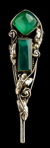Three examples, anticlockwise. Dorrie Nossiter. Pin brooch. Sold by Tadema Gallery  Art Noveau