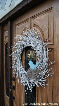 spring front door wreath made from twigs!