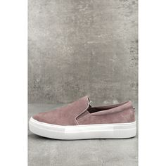 Missy Dusty Mauve Suede Sneakers ($35) ❤ liked on Polyvore featuring shoes, sneakers, pink, pink shoes, slip-on sneakers, suede shoes, suede slip on shoes and steve madden sneakers