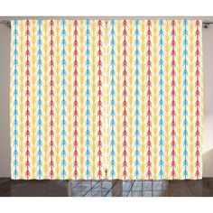 Tribal Curtains 2 Panels Set, Ethnic Arrow Pattern with Folk Style Traditional Primitive Textured Tones Design, Window Drapes for Living Room Bedroom, 108W X 96L Inches, Multicolor, by Ambesonne #primitivebedroom