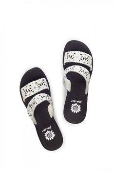 Marino Wedge Sandal in Black White