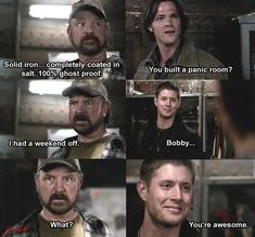 Are You There God? It's Me, Dean Winchester - Bobby's Panic Room / Supernatural / Bobby Singer / Dean Winchester / Sam Winchester Supernatural Fans, Castiel, Supernatural Tattoo, Supernatural Wallpaper, Supernatural Poster, Supernatural Christmas, Supernatural Seasons, Crowley, Bobby Singer