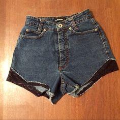 Vintage high waisted denim shorts With fun flirty lace Cambio Shorts Jean Shorts