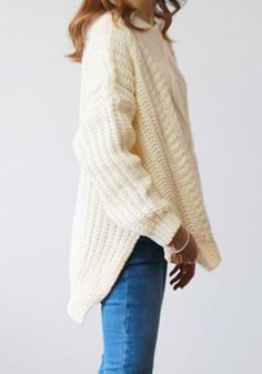 Beige Cable-Knit Sweater- With Side Splits