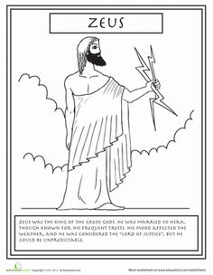 This is the most famous of Greek gods, Zeus. Your child can read a few interesting facts about Zeus while she colors him in! This is the most famous of Greek gods, Zeus. Your child can read a few interesting facts about Zeus while she colors him in! Greek And Roman Mythology, Greek Gods And Goddesses, Facts About Zeus, Roman Gods, Thinking Day, Greek Art, Teaching History, Coloring Pages, Coloring Worksheets