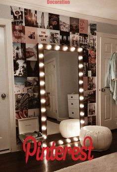 Vanity Mirror with Lights Ideas (DIY or BUY) for Amour Makeup Room - Vanity . - Vanity Mirror with Lights Ideas (DIY or BUY) for Amour Makeup Room – Vanity Mirror with Light - Room Ideas Bedroom, Dream Bedroom, Room Decor Bedroom, Master Bedroom, Bedroom Inspo, Cool Room Decor, Paris Bedroom, Diy Teen Room Decor, Bedroom Small