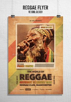 Reggae Flyer/Poster (CS4, 8.3x11.7, africa, afro, alternative, band, brown, club, concert, event, festival, flyer, gig, green, jamaica, live, music, party, photo, poster, red, reggae, rock, sound, typography, vintage, yellow)
