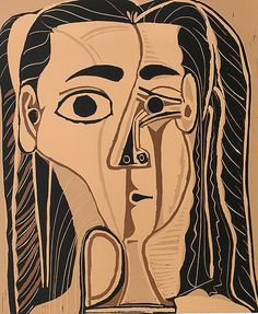 Grande Tête de Femme, 1962, was the piece that launched this significant Picasso collection. The lot, which illustrates Picasso's second wife, Jacqueline Roque, comprises a series of seven linocuts printed in different colors that show various stages of the work—including the final state, pictured here.