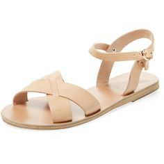 Ancient Greek Sandals Women's Evdokia Sandal - Beige/Khaki, Size 36 ($176) ❤ liked on Polyvore featuring shoes, sandals, multi, beige sandals, metallic sandals, heeled sandals, low heel sandals and flats sandals