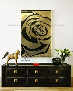 Large Rose Gold Painting Abstract Painting Textured Painting Modern Art Wall Decor Gold Leaf Painting On Canvas by Julia Kotenko Large Canvas Art, Canvas Wall Art, Rose Gold Painting, Painting Abstract, Gold Leaf Art, Tableau Design, Painted Leaves, Texture Painting, Original Paintings