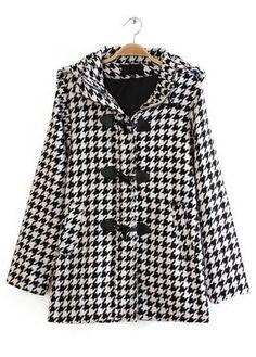 Plaid Print Hooded Collar Long Sleeve Coat