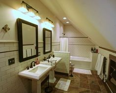 This period bath is tucked up under the roof in a new attic master suite.                                                                                                                                                     More