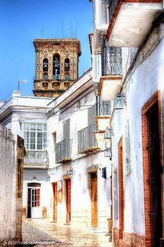 In de street outside Bar Don Fernando, Arcos de la Frontera, Andalusia_ Spain