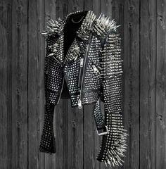 Men's Leather Biker Studs Leather jacket, Black Silver studded leather jacket #Unbranded #Biker #Casual Black Leather Biker Jacket, Studded Jacket, Leather Jackets, Leather Fashion, Leather Men, Cowhide Leather, Jacket Style, Punk