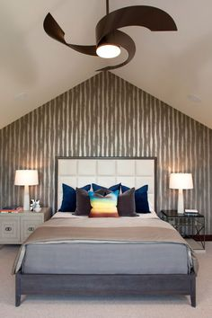 Breathtaking Spiral Shaped Unique Ceiling Fans Above Twin Desk Lamp Emiting White Lighting Contemporary Bedroom