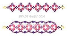 Free pattern for beaded bracelet Florence    U need:  seed beads 11/0  bicones 4-6 mm  round beads 4-6 mm  [ad name=