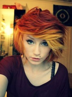 short red ombre hair - I think I want to do this soon!