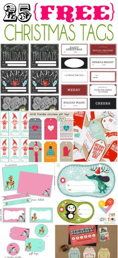 25 Free Christmas Tags on { lilluna.com }