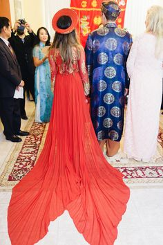 Stunning custom-designed red wedding dress - amazing wedding dress train! {Diana Lupu Photography}