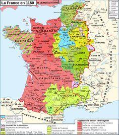 Carte de France en 1180 durant le règne de Philippe II