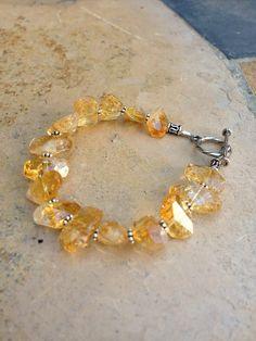 Chunky Golden Citrine Bracelet by EastVillageJewelry on Etsy, $60.00 www.eastvillagejewelry.etsy.com