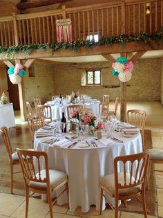 Bright colourful Wedding Decorations #Birdcage Table Centrepiece #pompom