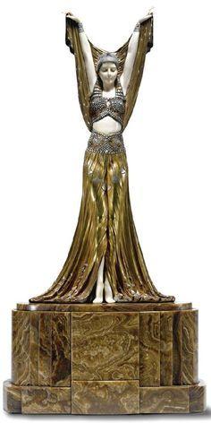 Russian ballet dancers in Art Deco sculpture of Demetre Chiparus