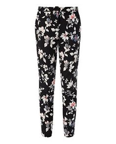 Black Pattern (Black) Black Crepe Floral Print Trousers  | 325063009 | New Look