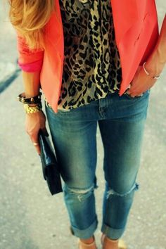 ♡ this whole ensemble Not always an animal print fan, but I love it under the brightly colored jacket!