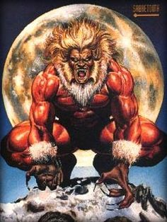 Sabretooth by Joe Jusko I remember this from the Marvel Trading cards when I was a kid Marvel Wolverine, Marvel Dc Comics, Marvel Comic Character, Comic Book Characters, Comic Book Heroes, Marvel Characters, Comic Books, Xmen, Skull Art