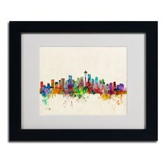Seattle, Washington by Michael Tompsett Matted Framed Painting Print