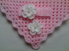Crochet Baby Blanket and Baby Headband Set by TatjanaBoutique