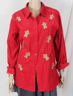 Quacker Factory Blouse M size Red Christmas Ginger Bread Man Fine Corduroy Comfy #QuackerFactory #Blouse #Casual
