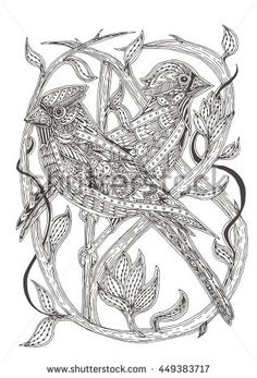 Hand Drawn Birds Cardinal With Ethnic Doodle Pattern Coloring Book Page