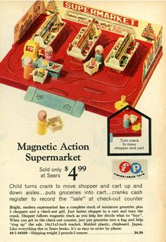 A Sears Exclusive in 1971: The Fisher-Price Little People Supermarket! Very cool looking little playset and extremely rare. Wonder how much a mint one goes for these days?