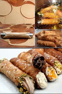 Homemade Cannoli with two fillings, including pumpkin cheese! You've never had cannoli this good, and you'd never believe how easy homemade cannoli is! 13 Desserts, Italian Desserts, Italian Recipes, Delicious Desserts, Dessert Recipes, Yummy Food, Italian Pastries, Dessert Healthy, Take The Cannoli