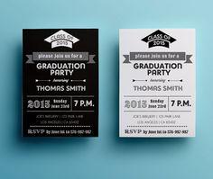 Graduation party invitation template retro by designedbyanna