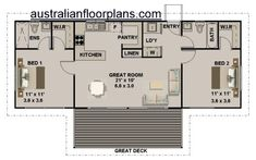 Guest House Plans, 2 Bedroom House Plans, Small House Floor Plans, House Plans One Story, Dream House Plans, 2 Bedroom Apartment Floor Plan, 2 Bedroom House Design, Two Bedroom Tiny House, 2 Room House Plan