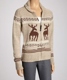 Take a look at this Beige Reindeer Wool-Blend Zip-Up Cardigan by Coupé on #zulily today!