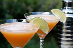 Cantaloupe Martinis. 1 c. pureed cataloupe (about 1/2 very ripe melon, rind & seeds removed.) 2 standard jiggers good vodke (3 oz). 1 standard jigger Cointreau (1.5 oz). Squeeze of fresh lime juice. Pinch salt. Ice. Lime slices for garnish. Fill shaker 1/2 full of ice, add puree, vodka, Cointreau, lime juice and salt. shake well. Pour into chilled martini glasses. Garnish with lime slices. Serves 2-3.