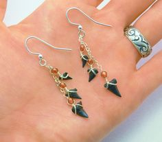 Sharks tooth Dangle Earrings - Magma Red Stones - Sterling Silver by JBellsGems on Etsy