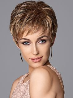 Short & Sweet Wig by Eva Gabor Wigs, This hand-knotted top short layers wig offers hair parting options for added styling versatility. From the Eva Gabor Next Luxury Collection, it offers a lightweight Personal Fit cap construction providing a custom cool and comfortable fit. $191.25