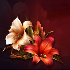 "Barnali Bagchi ~ ""Fall Lilies"" ~ moonbeam1212."