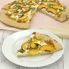 Peach, Basil, and Goat Cheese Pizza -