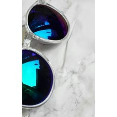 Wanderdusk Perspex Reflective Sunglasses (€15) ❤ liked on Polyvore featuring accessories, eyewear, sunglasses, blue, mirrored glasses, rainbow sunglasses, rainbow mirrored sunglasses, blue glasses and mirror glasses