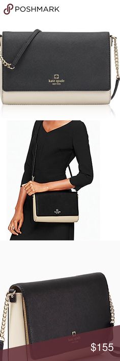 """NWT Kate Spade Charlotte St Alek/Ostrich Egg/Black New with tags Kate Spade Charlotte Street Alek/ostrich egg/black shoulder Crossbody bag. This Kate Spade is a gorgeous accessory for every woman! Cross hatched leather and 14-karat light gold plated hardware. Lined with Kate Spade New York jacquard lining. Crossbody with snap closure; interior lining with slip pocket and zippered pocket. Strap drop 22"""". No Trades kate spade Bags Crossbody Bags"""
