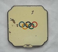 VERY INTERESTING 1930s - OLYMPIC ENAMELLED LADIES  COMPACT.