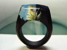 Black hornbeam wood ring Lotus in the night. Womens wooden ring. Wood ring resin. Like secret wood ring. 6.5 size in stock. by GeppettoJewelry on Etsy