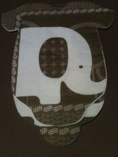 "30 Baby shower ""body suit"" paper napkins or banner decoration. Brown and white elephants with contrasting solids. on Etsy, $30.00"